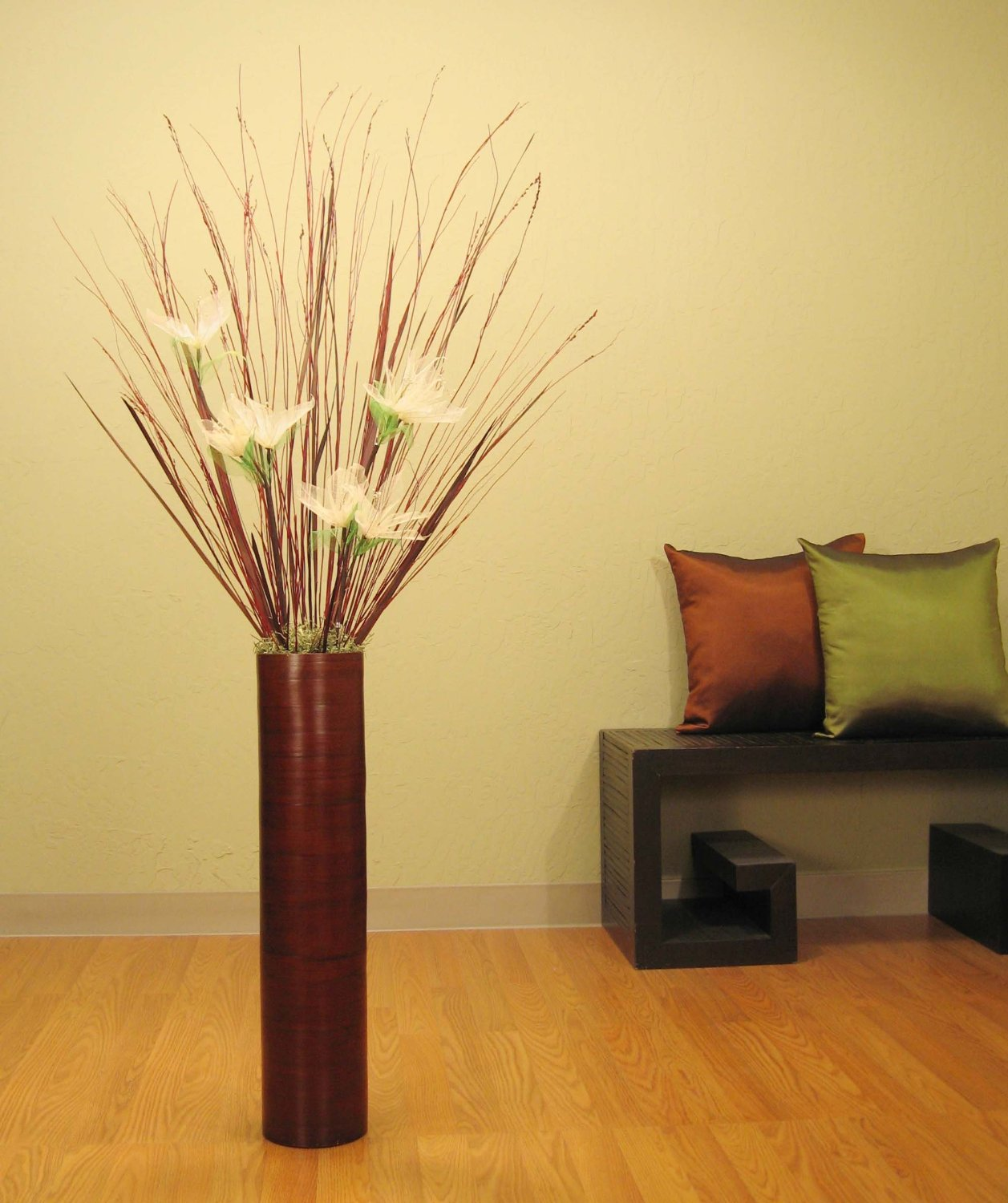 Cheap tall white floor vase find tall white floor vase deals on brown bamboo tall floor vase white lilies floral kit reviewsmspy