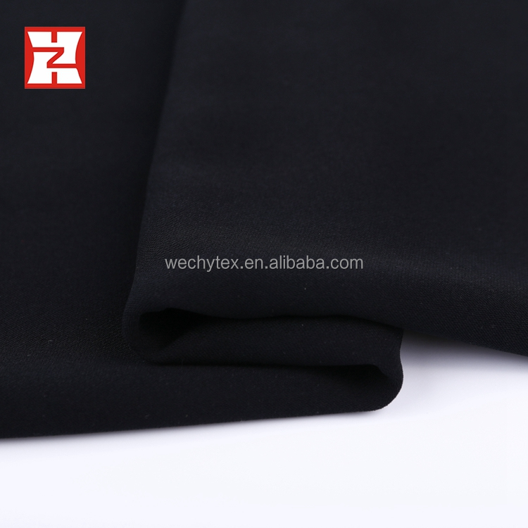 Newest Design high grade free sample 100% polyester woven jet black dubai abaya fabric