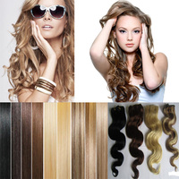 Wholesale double drawn blonde seamless clip in remy human hair extensions for white women wave