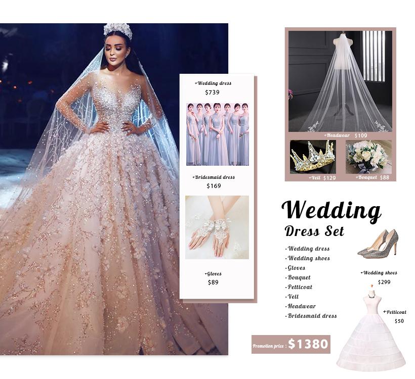 Guangzhou bling bling in rilievo di lusso a maniche lunghe abito di sfera abito da sposa abito da sposa abito da sposa di cristallo
