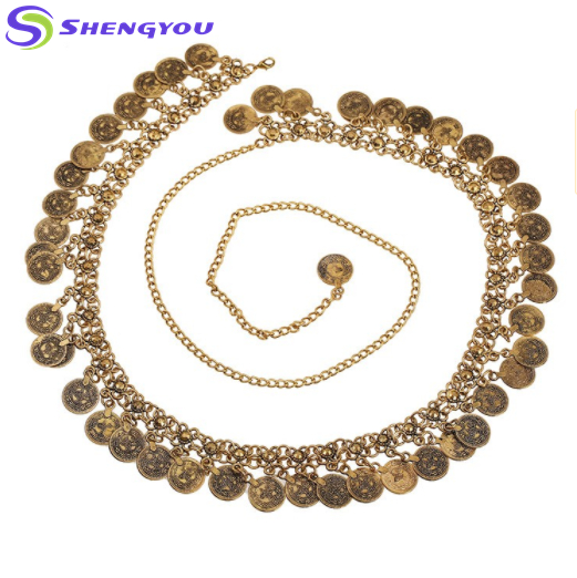 Fashion Two Tone Alloy Decorative Coin Pendant Belt Women
