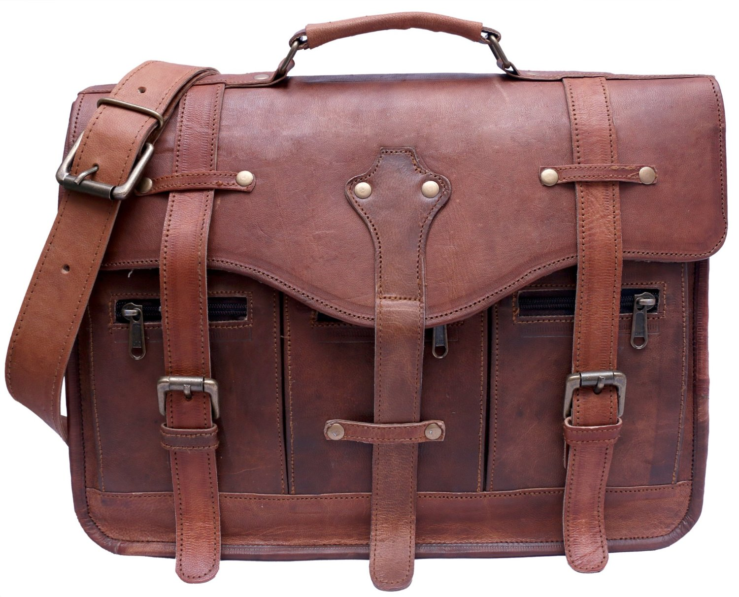 Get Quotations · Phoenix Craft Genuine Vintage Brown Leather Messenger Bag  Padded Laptop Case Shoulder Macbook Briefcase women Laptop 2527467be5