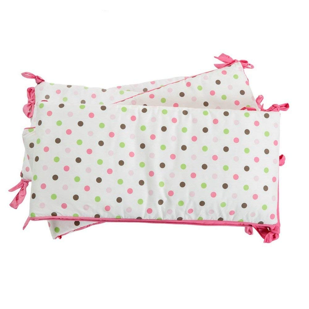 i-baby Cot Bumper Sets Baby Bedding Wrap Around Safety Protection For Baby Girls Bed With Head Guard Polka Dot Printed Crib Bumpers Kindergarten Nursery Pink 100% Cotton (Pink)