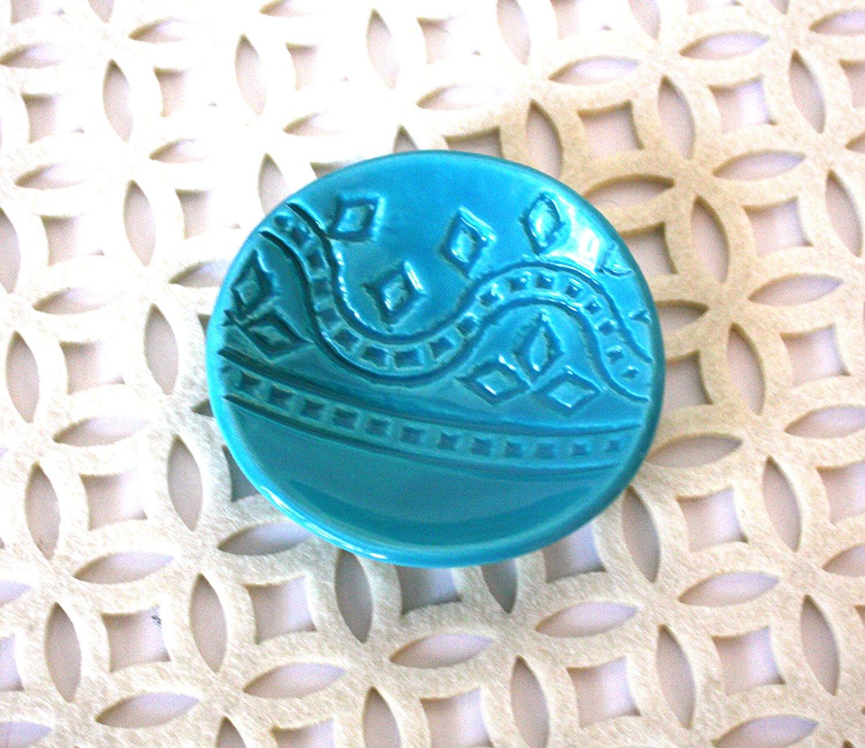 Turquoise Ring Dish - Handmade Jewelry Bowl - Bohemian/Boho dish with geometric pattern and light aqua glaze