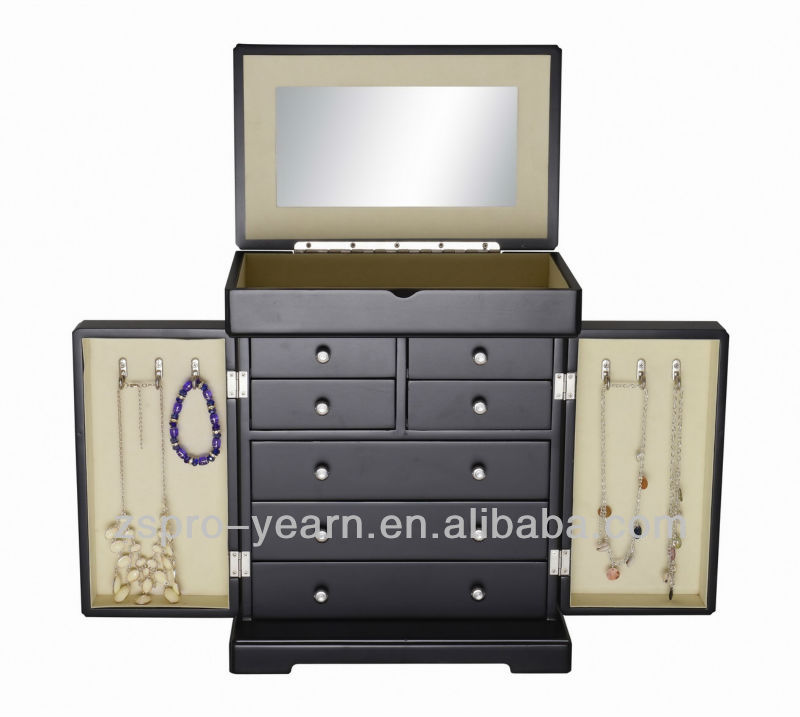 Brand-New Wooden Cosmetic Case with Mirror and Two Ball Handled Doors and Several Ball Handled Drawers