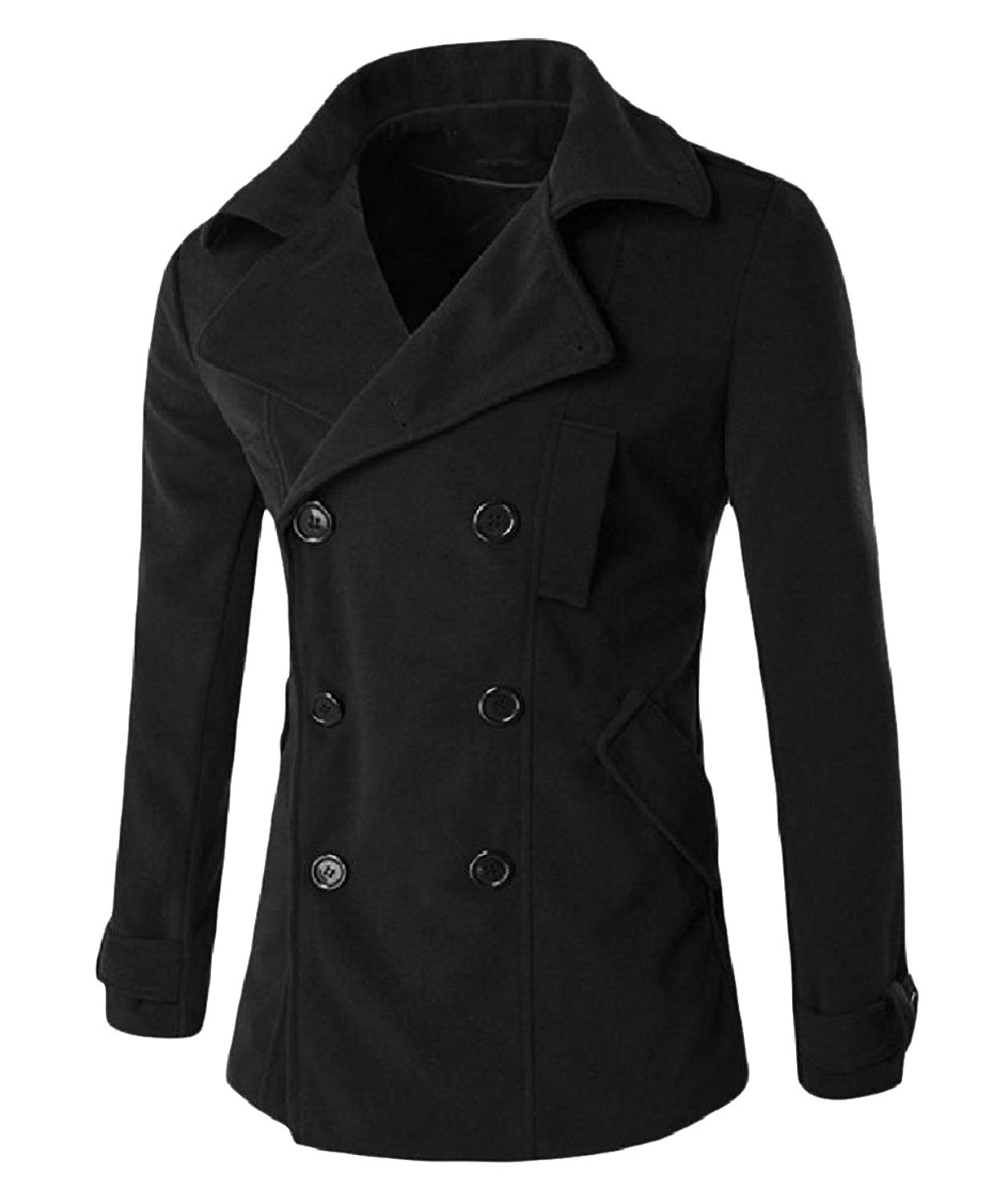 Zimaes-Men Fashion Double-Breasted Wild Classic-Fit Basic Style Overcoat