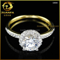wholesale China price 14k gold plated sterling silver cz ring