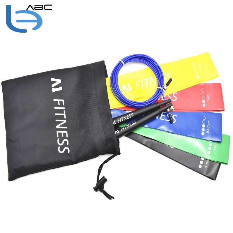Fitness Travel kit 5 Loop Exercise Band With Speed Jump Rope in A Carry Bag