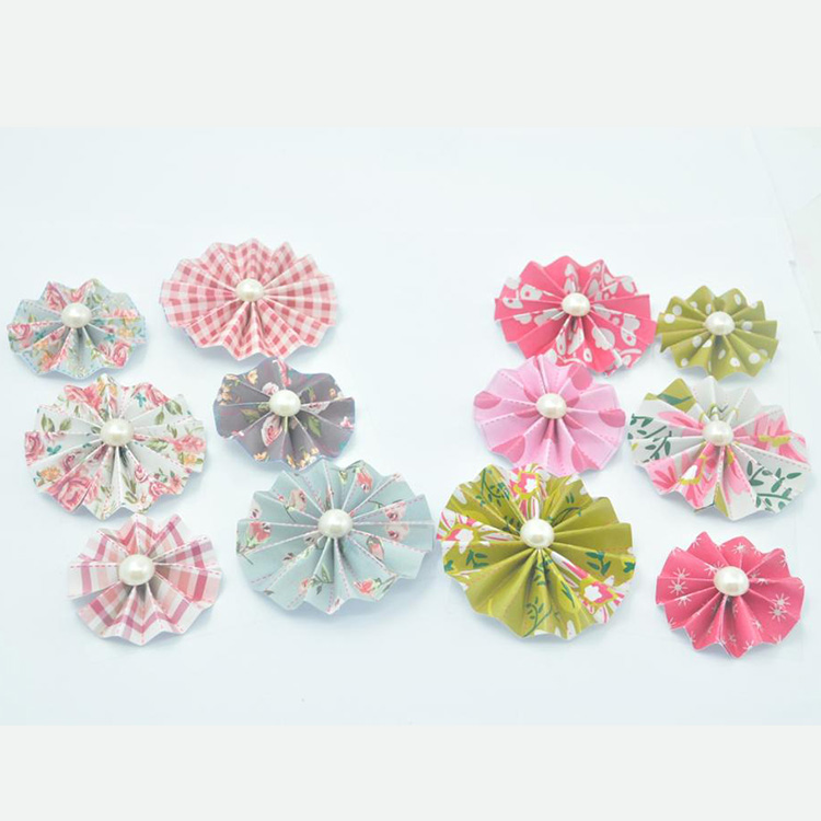 DIY scrapbook paper craft round hand fan custom pattern decorative paper rosettes fans