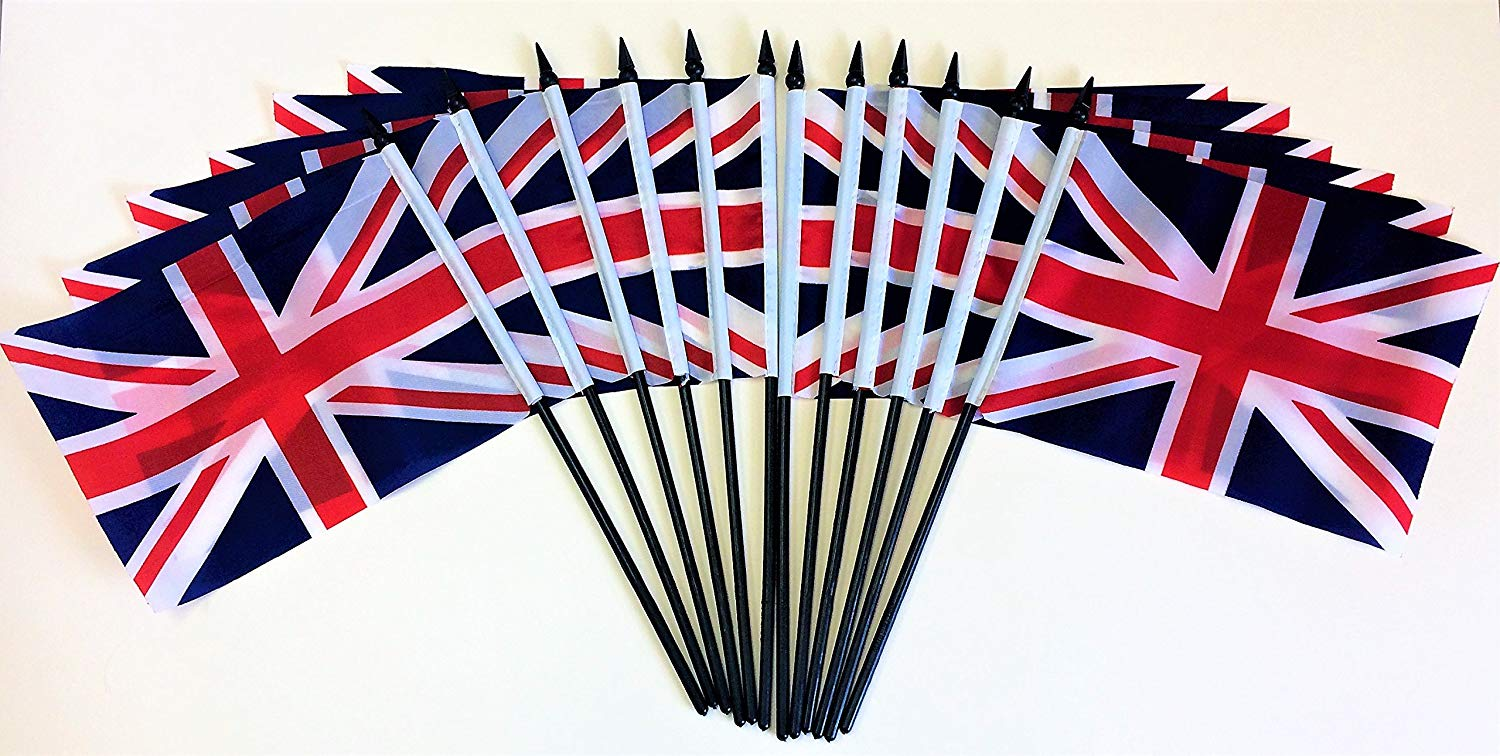 "Pack of 12 5.5""x8"" United Kingdom Polyester Miniature Office Desk & Little Table Flags, 1 Dozen 5.5""x 8"" British UK Small Mini Hand Waving Stick Flags"