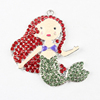 Wholesale 46*42mm Red and Peridot Beautiful Mermaid Alloy Crystal Rhinestone Charms Pendants for Chunky Necklace