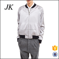 Custom Plain Mens Autum Raglan Sleeve Satin Bomber Baseball Jacket in China