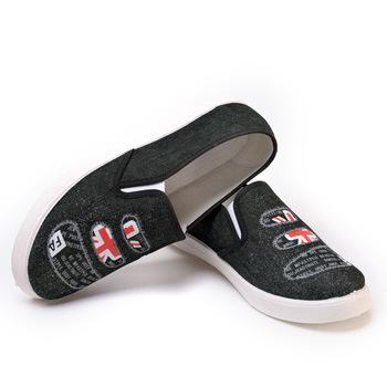 727e675d1df new style rubber loafer shoes men with patch canvas design flat shoes men