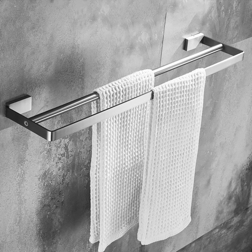 EQEQ Bath Rooms Shelf 304 Stainless Steel Towel Rail/Bath Rooms Towel Holder Double/Double Perforated Towel Holder Wall (Size: 40 cm).