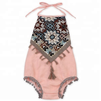 c3b62e206d3 Baby Peach Boho Vintage Tassel Girl Sunsuit Romper - Buy Baby Girl ...