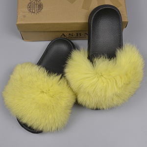 Sandals custom slides rubber slippers big real fox fur slides for women