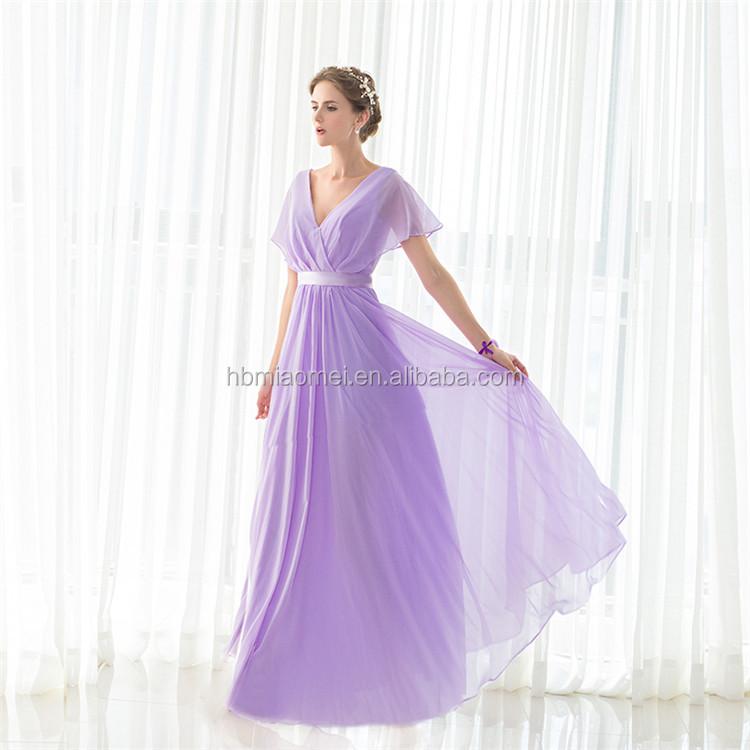 Barato Al Por Mayor Bodas Vestidos De Dama Púrpura V-cuello Largo ...