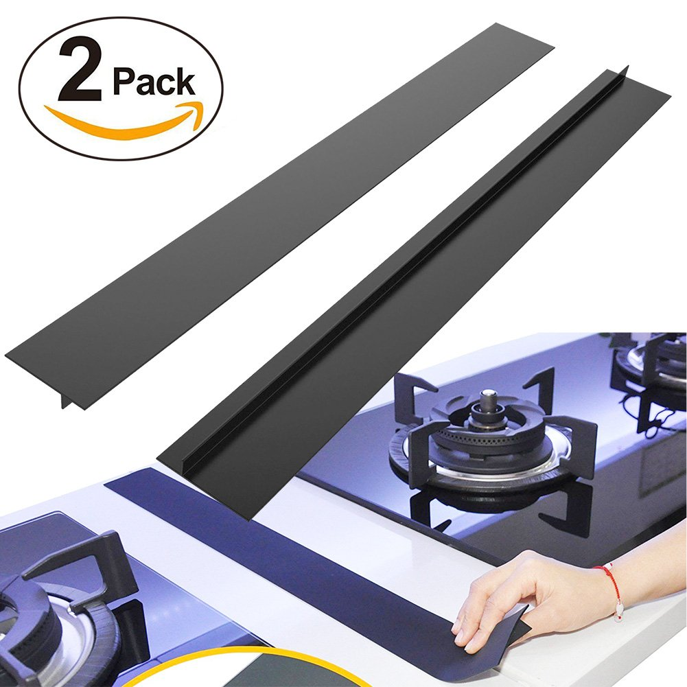 "BRILLIFE Kitchen Silicone Stove Counter Gap Cover, 2Pcs Long & Wide Gap Filler 21""X1/2"" Premium Silicone Spill Guard for Stovetop, Counter, Oven, Washer, Dryer,FDA&LFGB Free (Black)"