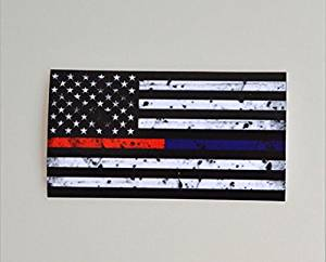 2.5 X 4.5 Inch Firefighter Police Emt Paramedics Thin Blue&Red Line American Flag Stickers Decals