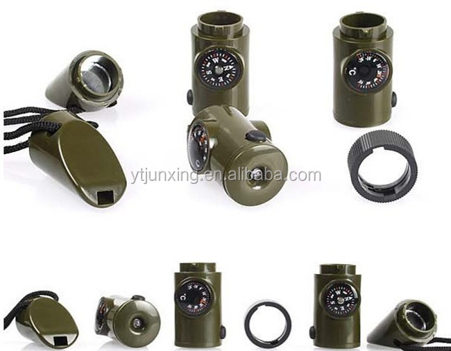 7-IN-1 LED Survival Compass Whistle
