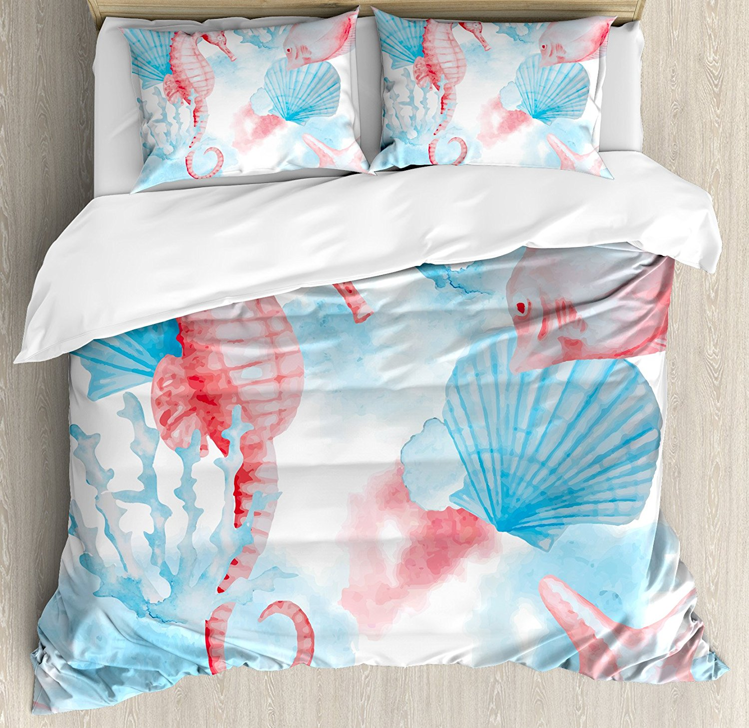 Ambesonne Nautical Decor Duvet Cover Set King Size, Sea Shells, Sea Horse, Corals, Fish Sandy Beach Exotic Stylized Water Color Effect, Decorative 3 Piece Bedding Set with 2 Pillow Shams