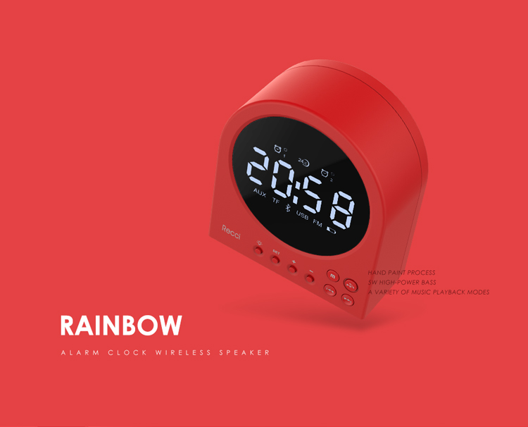 RECCI Rainbow series wireless Speaker with TF card, time alarm, USB input, AUX, FM, makeup mirror