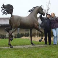theme park sculpture metal craft arabian horse sculpture