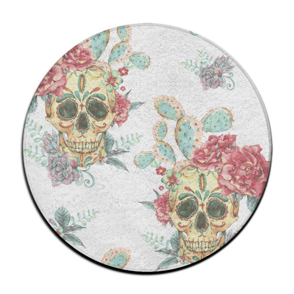 XTingIy Cactus Rose Skull Home Life Flannel Non-Slip BedroomRound Rug Mats Prevent Mold
