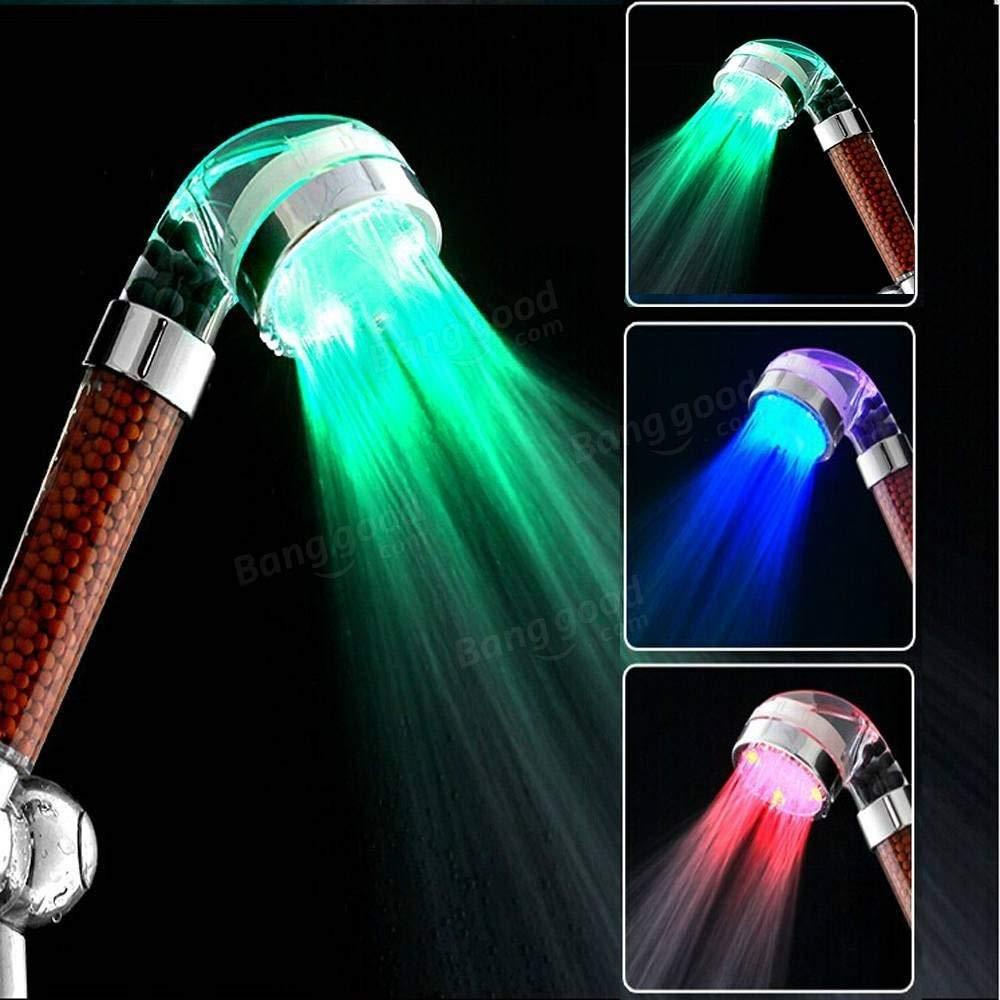 Get Quotations Temperature Control Shower Head Led Light Bathroom 3 Colors Automatic Sensor