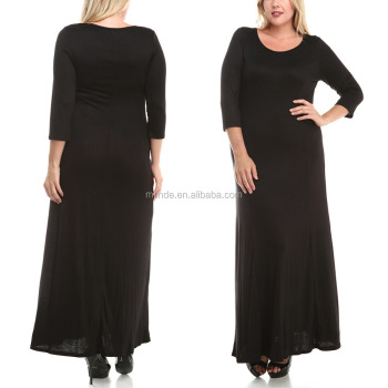 Women Black Maxi Dress Plus Size Long Dresses Stylish Casual Dresses ...