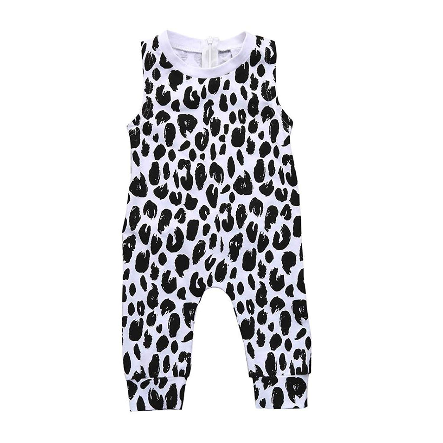 8c356cdf7 Get Quotations · Winsummer Baby Boys Summer Sleeveless Leopard Harem Romper  Jumpsuit Onecies Easter Outfits