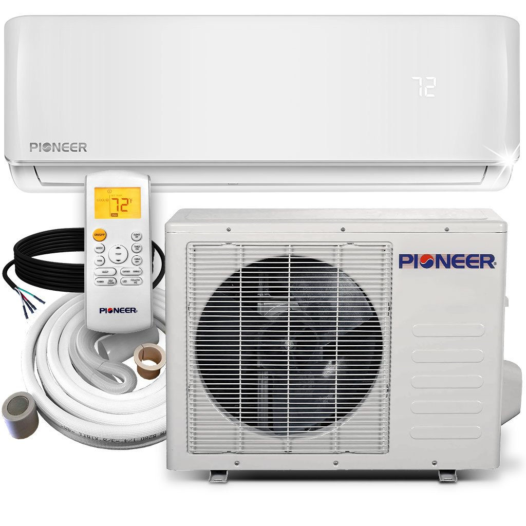 PIONEER Air Conditioner Inverter+ Ductless Wall Mount Mini Split System Air Conditioner & Heat Pump Full Set, 9000 BTU 115V