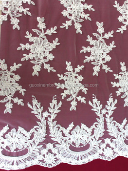 2014 hot selling embroidery wedding lace fabric