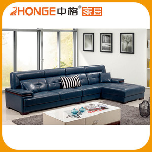 Dark Blue Sectional Corner Sunroom Cowhide Funky Leather Sofa