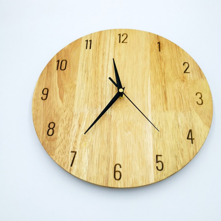 Customize size and color natural wall clock wooden