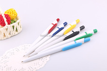 Cheap price advertising printed promotional plastic white barrel pen with school&office supplies
