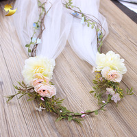 White Apparel Accessory Flower crown Fancy Wedding hair accessories women veil