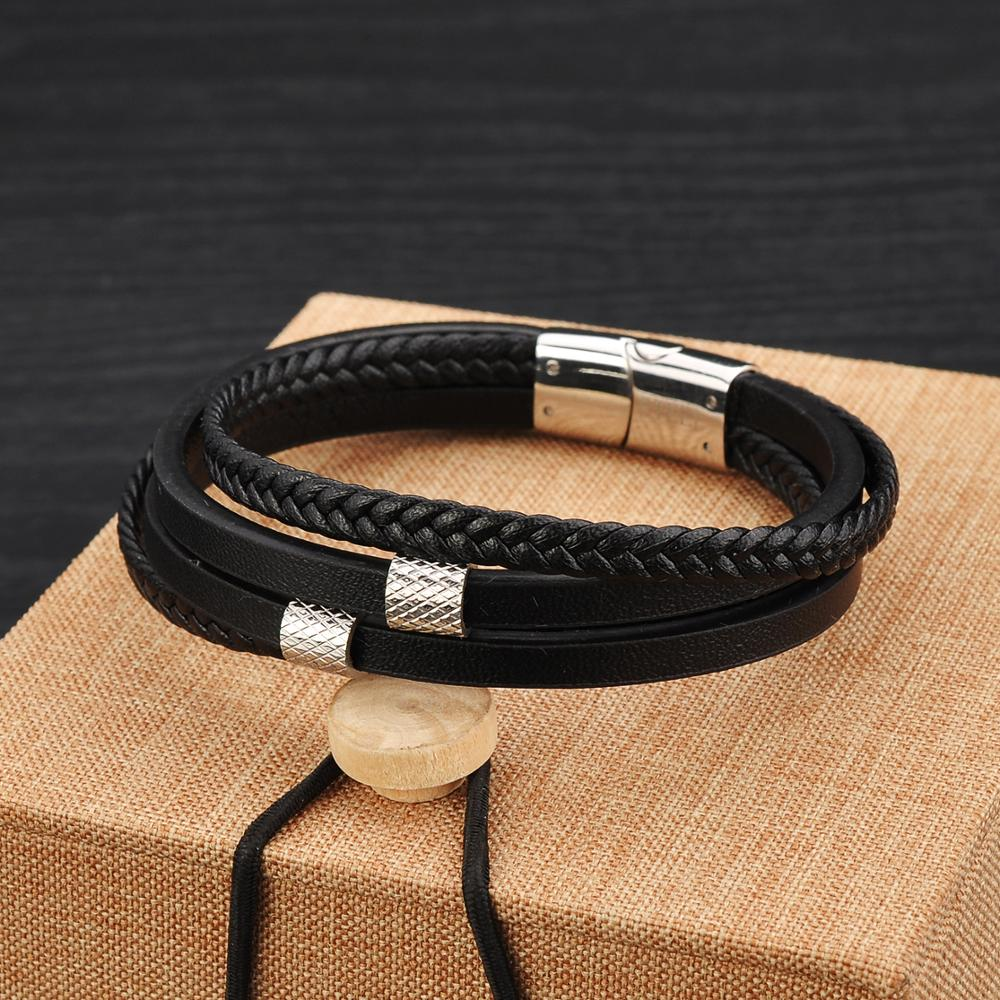 Wholesale Custom Men Jewelry Stock Wrap Black Leather Bracelets