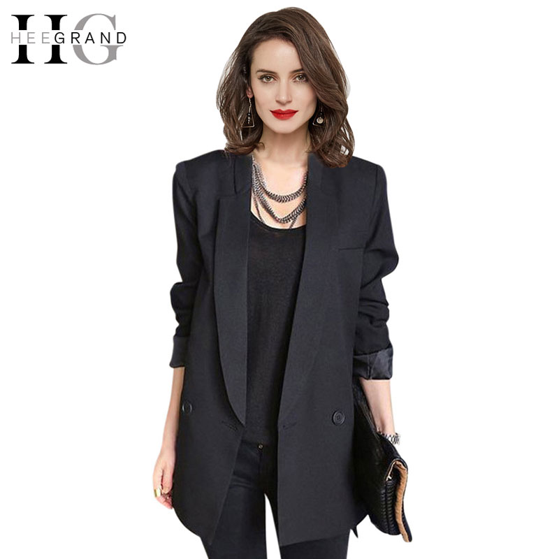 HEE GRAND 2016 Fashion Black Blue Casual Blazer Women Mid ...