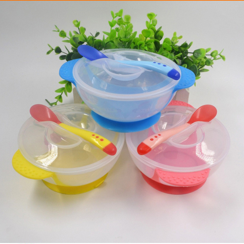 Toddler Baby Kids Child Feeding Lid Training Bowl with Spoon Cartoon Baby Feeding Tableware Children Plate Sucker Bowl C2