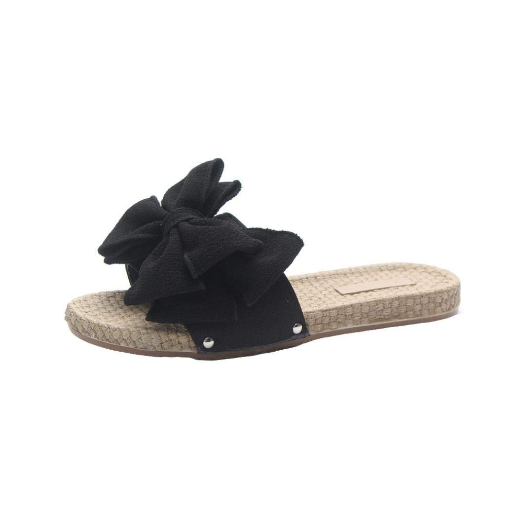 c3e503a7490a Get Quotations · Women Flip-Flop Sandals Thong Beach Shoes Flat Bow Slides  Slippers Home Sandals