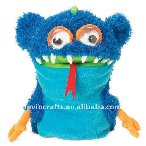 blue body plastic eye snake plush hand puppet