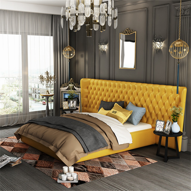 luxury genuine leather bed with big headboard