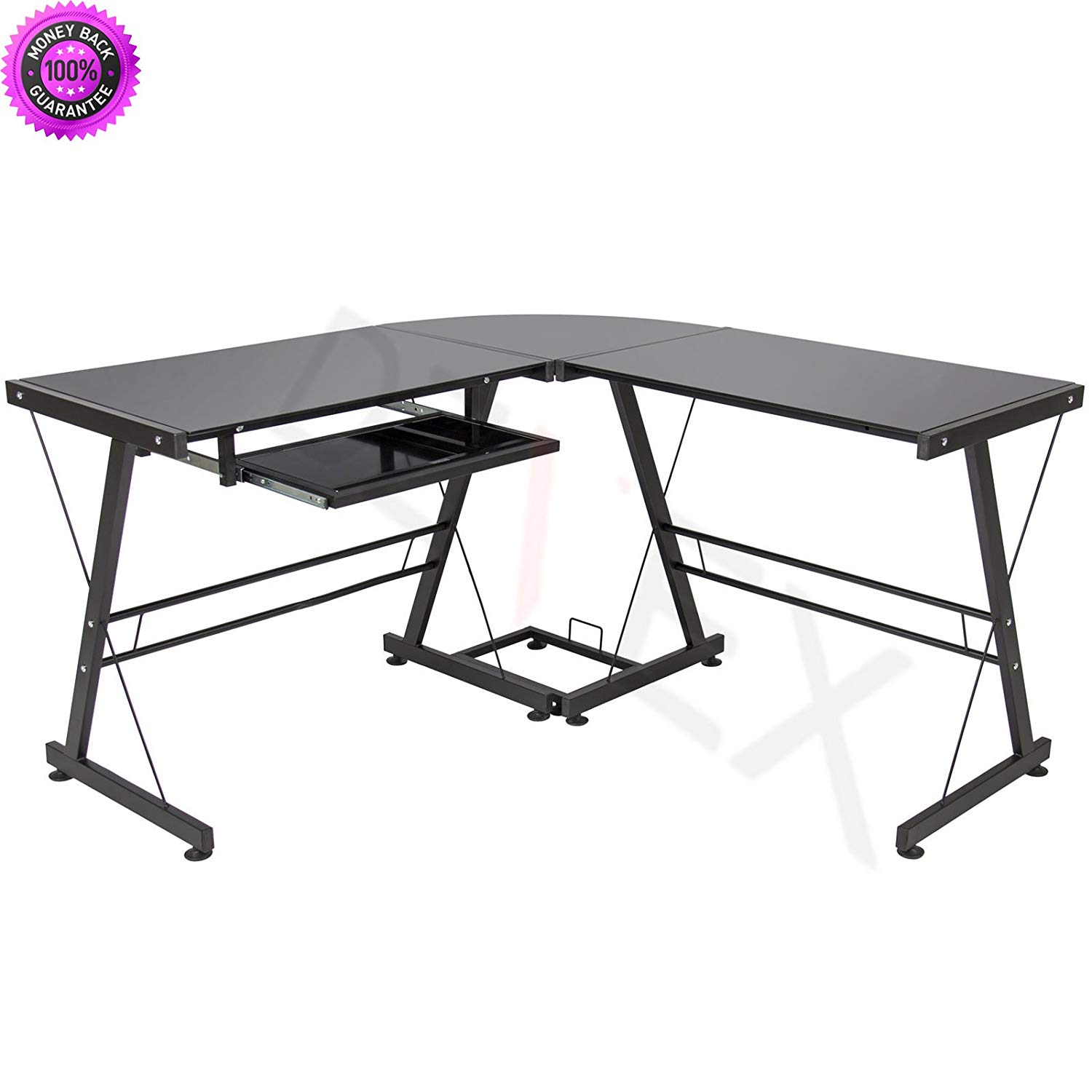 DzVeX_ L-Shape Computer Desk PC Glass Table Workstation Corner Home Office - Black And home office desk home office furniture collections modular home office furniture office furniture office