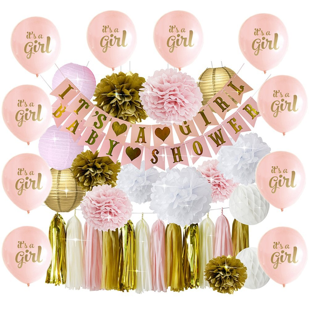 Girl Baby Shower Decoration Pink and Gold   10 It's A Girl Bonus Balloons   BABY SHOWER IT'S A GIRL Banner   Pom Poms Flowers Paper Lanterns Paper Honeycomb Balls Tissue Paper Tassel Party Decorations