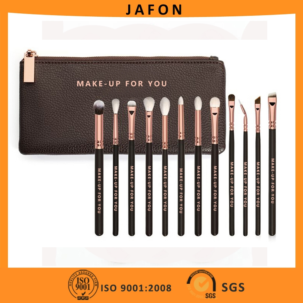 12pcs Rose Golden Complete Eye Brush Set Goat Hair