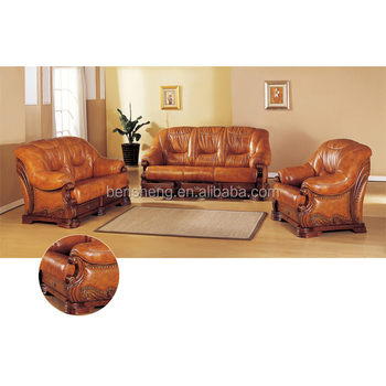 B382 Luxury And Elegant Design Leather Sofa Set Wooden Genuine Lounge