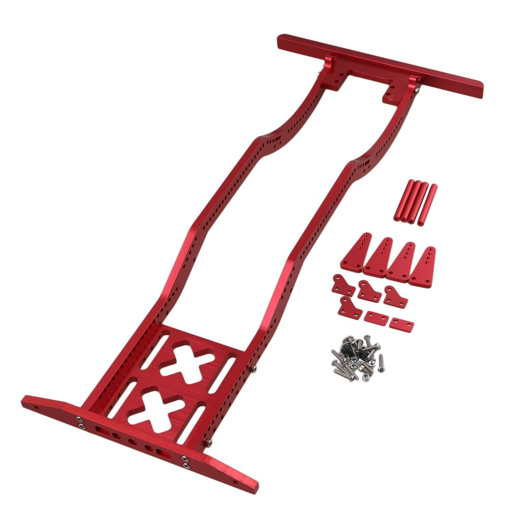 BQLZR 17 x 7.7 x 1.6Inch Red Alumimum Alloy Upgrade Parts RC1:10 Rock Crawler Car Chassis Frame for AXIAL SCX10 RC4WD D90