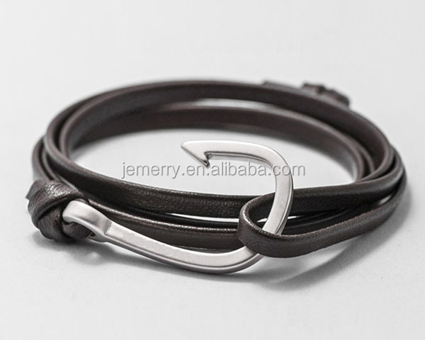 Fashion Jewelry Wholesale Leather Steel Anchor Hook Custom Nautical Bracelet Men's Jewelry