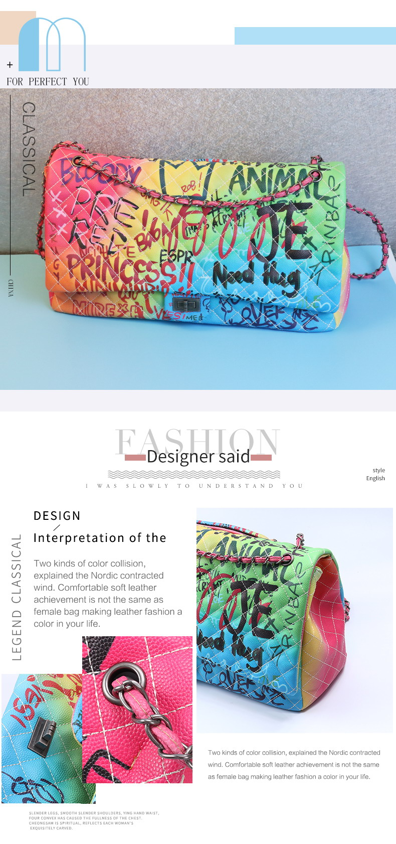Maidudu designer color graffiti large shoulder women wholesale handbags famous brands from china